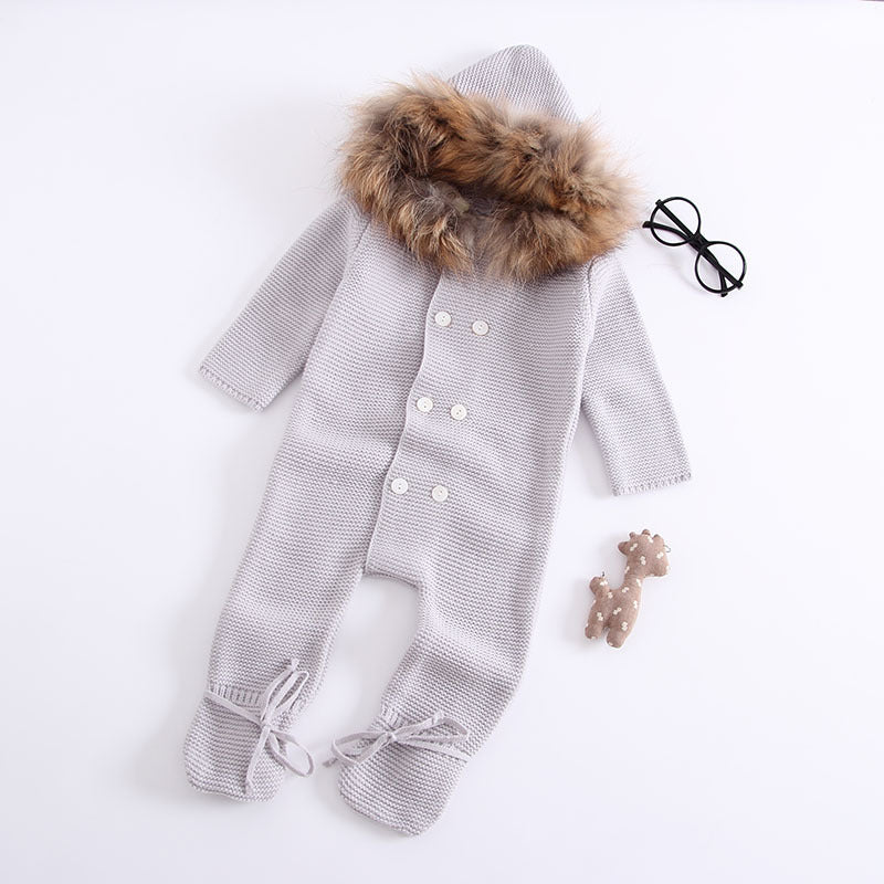 ac04ecb41984 Winter Clothes Newborn Baby Boy Girl Knitted Sweater Jumpsuit raccoon Fur  Hooded Kid Toddler Outerwear
