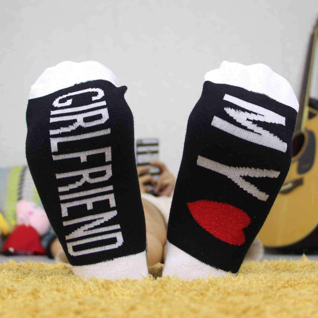 3pcs Heart-shaped printed cotton boat socks Christmas day socks