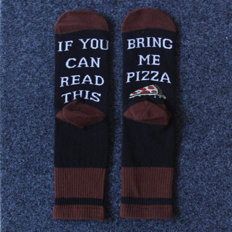 3pcs PIZZA Letter Print Christmas Day Socks