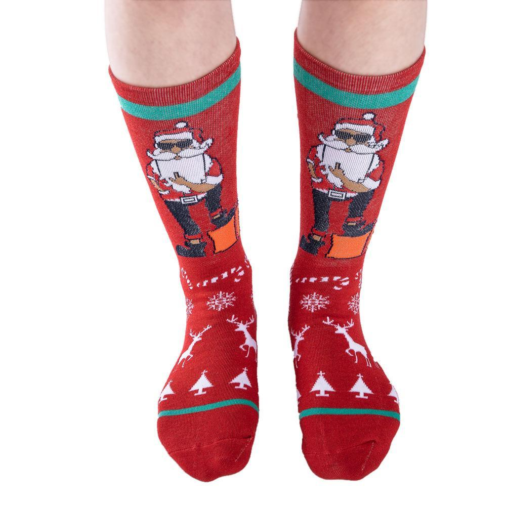 3pcs Christmas print stockings socks