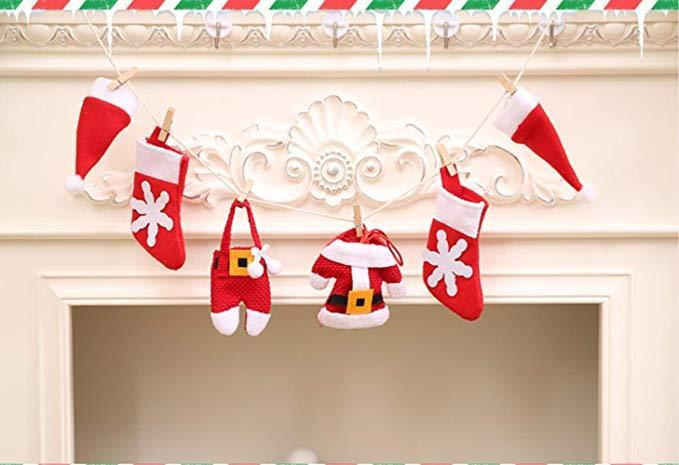 1M Length Xmas Pull Flag Lucky Small Hat/Clothes Pants/Socks Pattern Design Merry Christmas Decoration