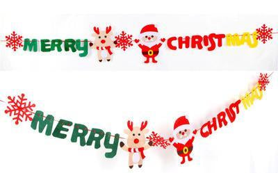 3M Letters Santa Claus Gloves Colorful Pull Flags Banners Christmas Tree Decor
