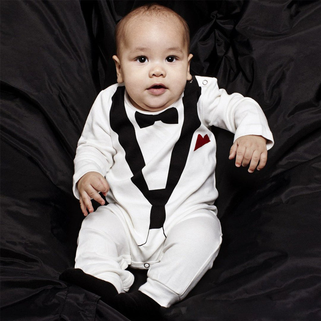 Trendy Newborn Infant Baby Boys Black And White Gentleman Romper Bowknot Tie Cotton Long Sleeve Baby ysuit