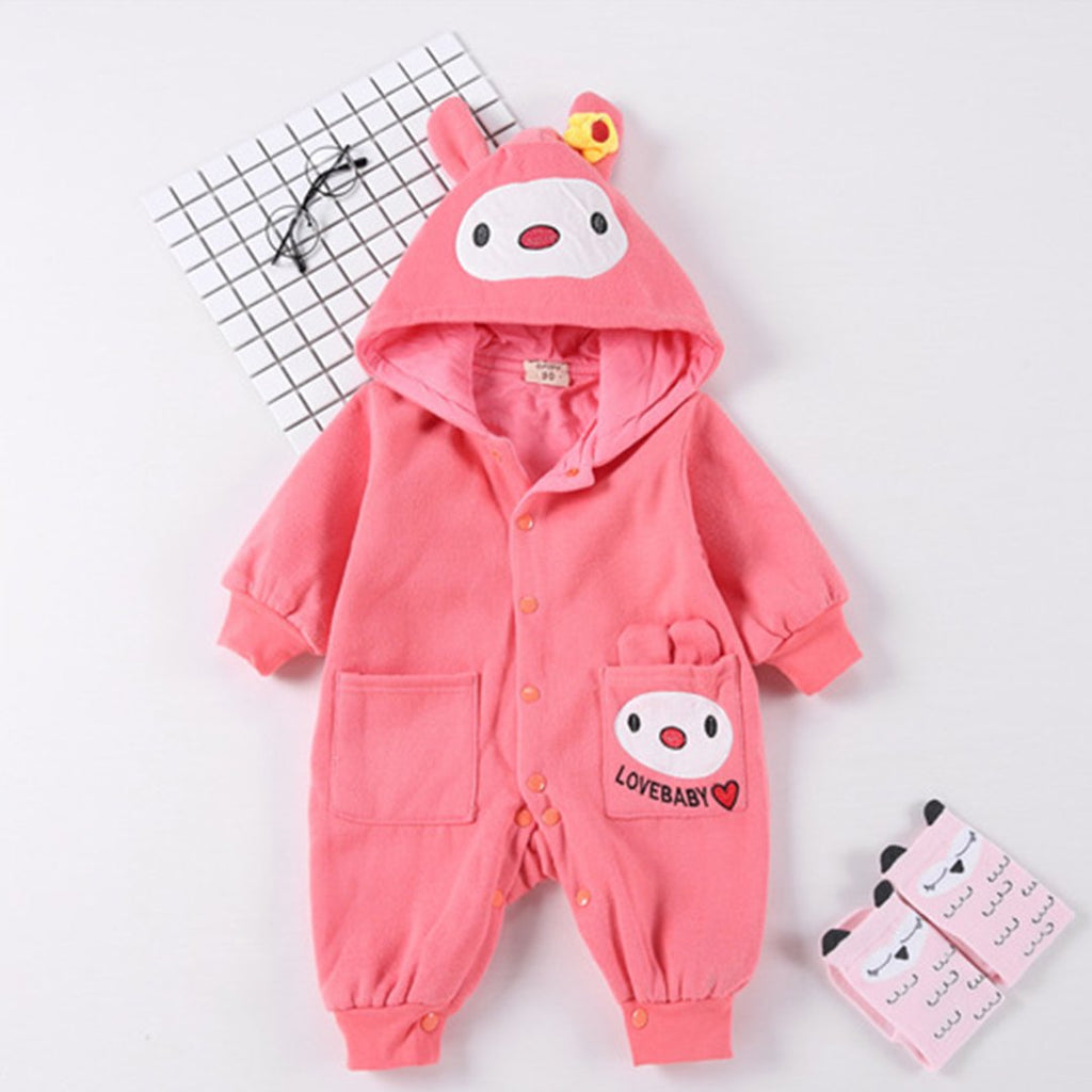 Autumn And Winter Baby Suits Baby Thickening Warm Cotton Jumpsuit Baby Go Out Crawling Clothes