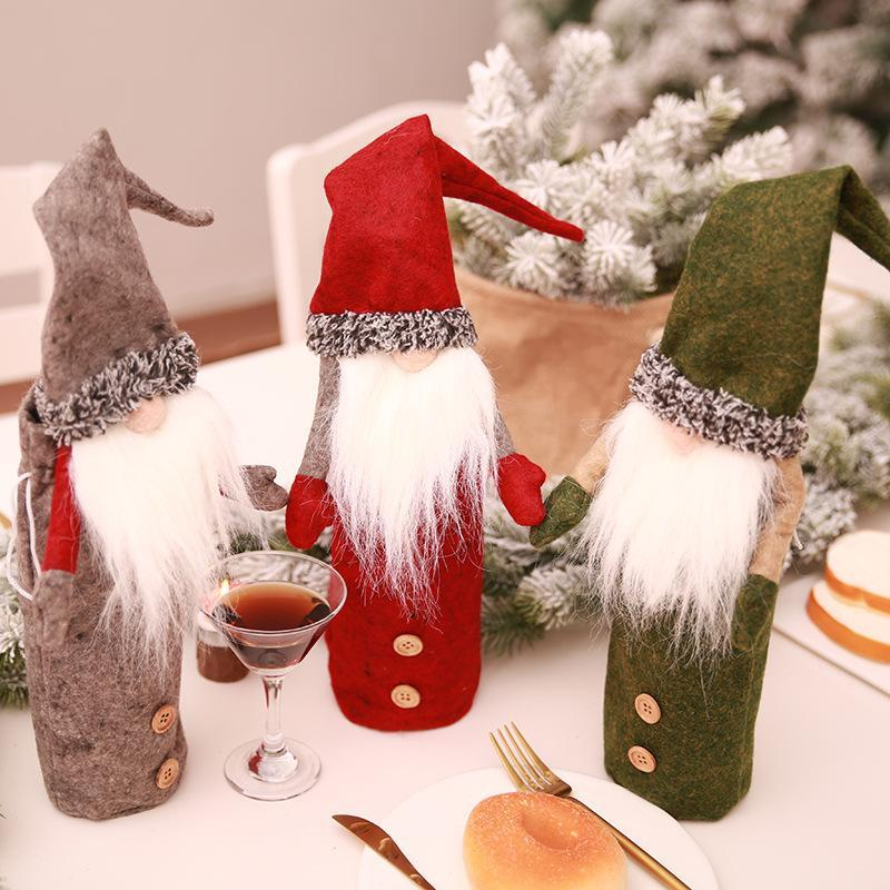 Christmas Decorations Embroidered old wine bottle set