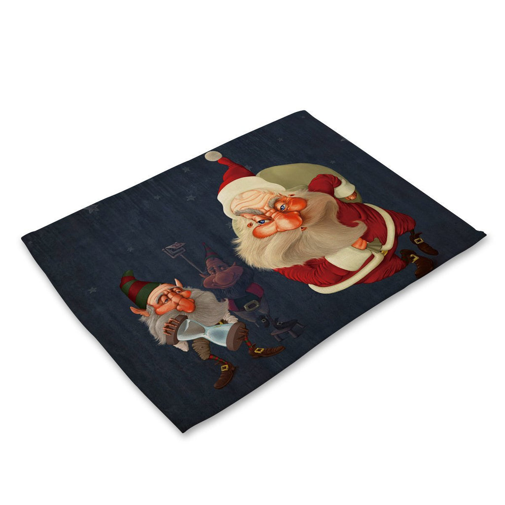 Christmas Decorations Santa Claus printed cotton western mat