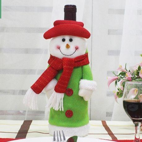 New Christmas Decoration Santa Claus Snowman Wine Bottle Cover Bag Christmas Dinner Xmas Table Decoration Gift