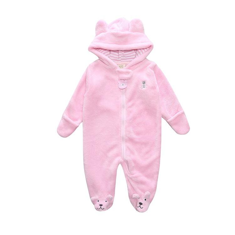 0-9M 5 Colors Newborn Baby Hooded Rompers Bear Cotton Jumpsuit Winter Keep Warm Hoodie Comfortable Kids Overalls
