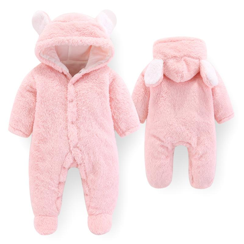 Newborn Kids Baby Boys Girls Warm Infant Romper Jumpsuit Cute Hooded Outfits