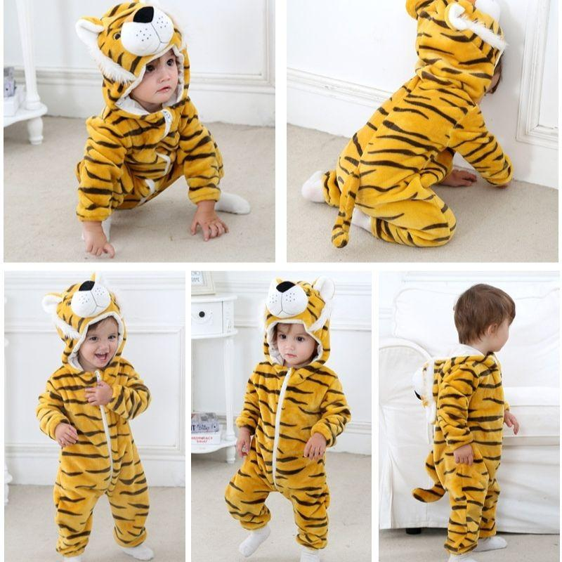Kids Baby Boys Girls Warm Infant Romper Jumpsuit Cute Hooded Outfits