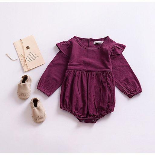 Kids Baby Girls Warm Jumpsuit Ruffle Cotton Clothes Outfits