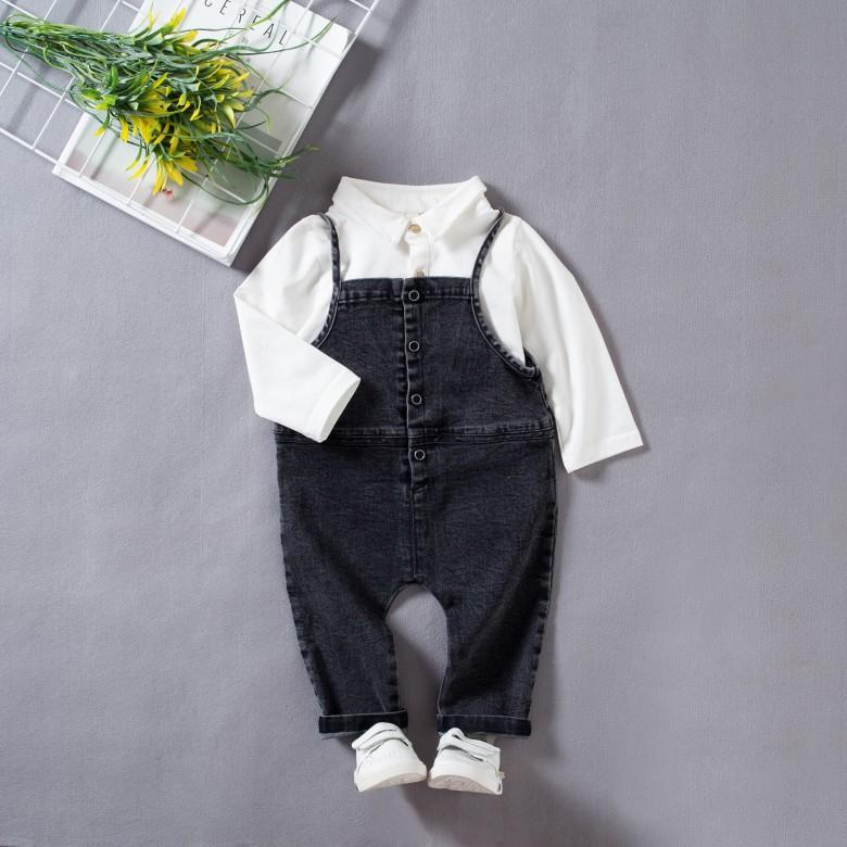 Kids Baby Cute Two-piece Denim Overalls Rompers Jumpsuit