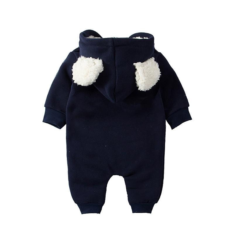 Kids Baby Boys Girls Warm Infant Romper Jumpsuit Cute Hooded Cotton Clothes Outfits