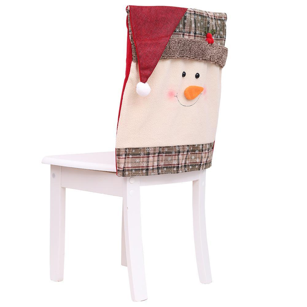 1 pcs 51*48cm Christmas Decorations Snowman Santa Claus Chair Back Covers Dinner Xmas Gift