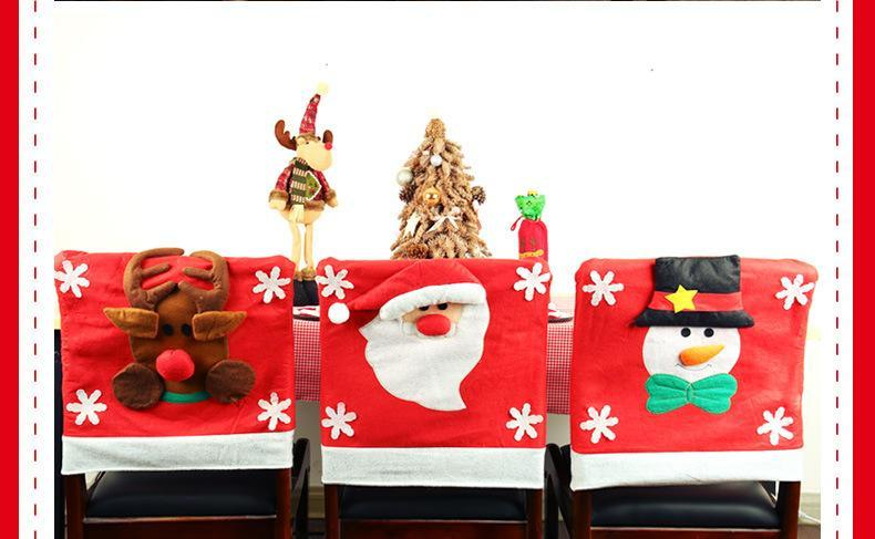 1 pcs 50*65cm Christmas Decorations Snowman Santa Claus Elk Chair Back Covers Dinner Xmas Gift