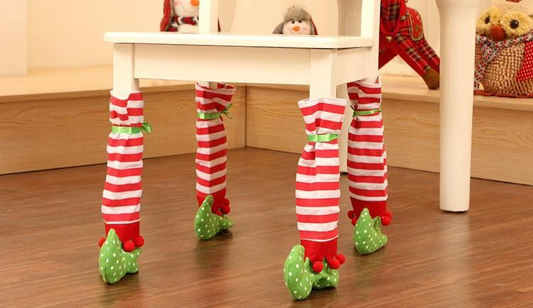 1 pcs 38*20cm Christmas Decorations Striped Chair Foot and Table Foot Covers Dinner Xmas Gift
