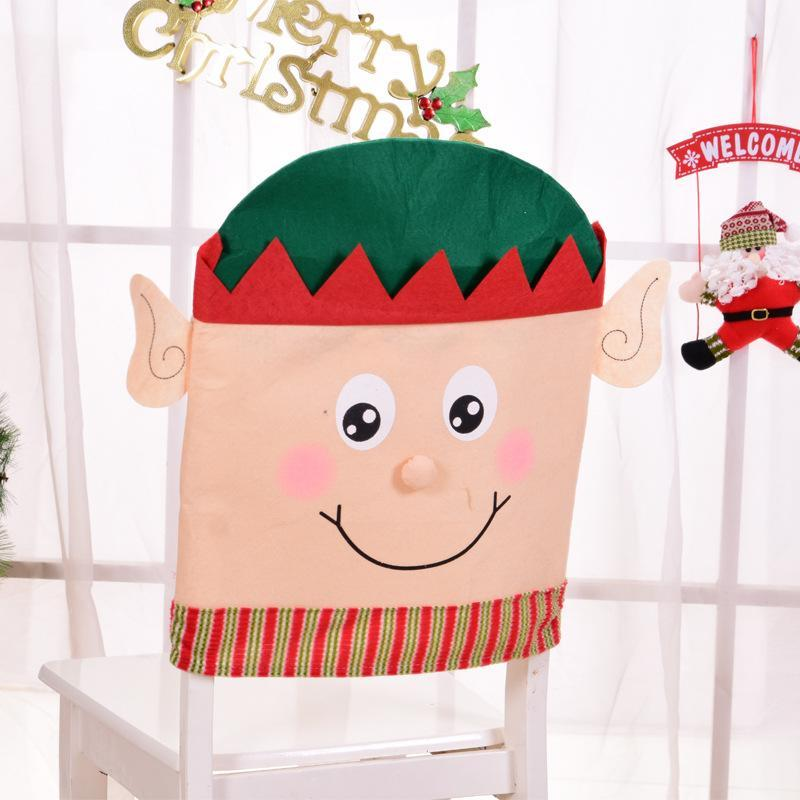 1 pcs 50*45cm Christmas Decorations Santa Claus Elf Chair Back Covers Dinner Xmas Gift