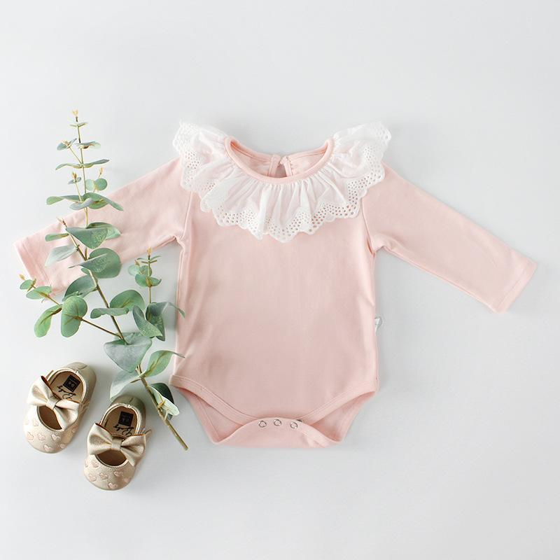 Girls Baby Lace Collar Bodysuit Cotton Long-sleeved One-piece Romper