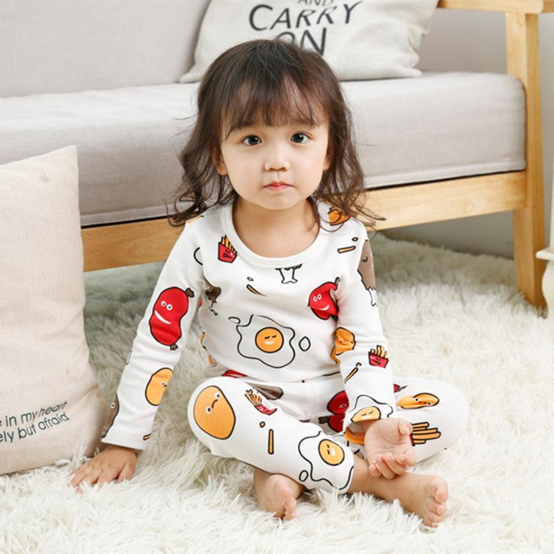 Two Pieces Children's Cotton Cartoon Long Sleeve Home Wear