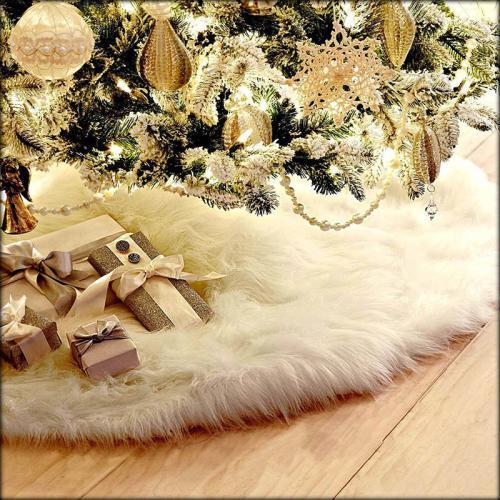 Christmas Decoration Pure White Fuzzy Flush Cute Christmas Tree Skirt 78cm 90cm 122cm