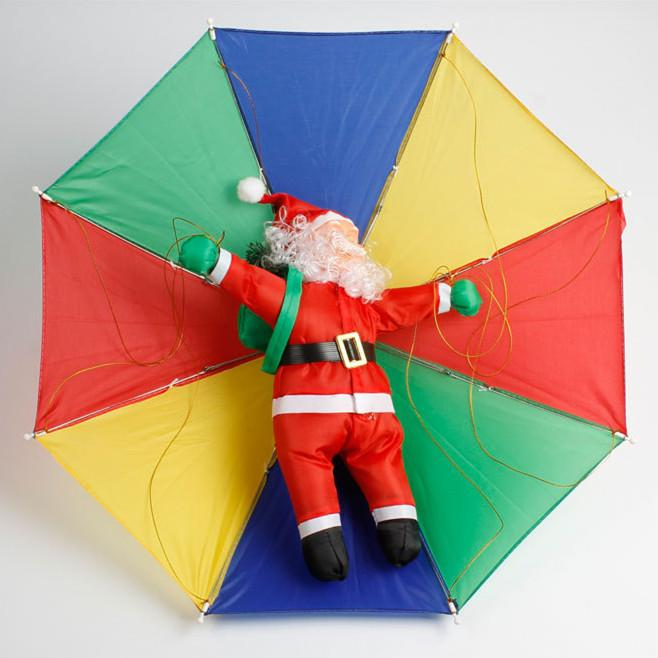 Christmas Decoration Santa Claus as Paratrooper Sending Gift Lovely Doll Xmas Gift