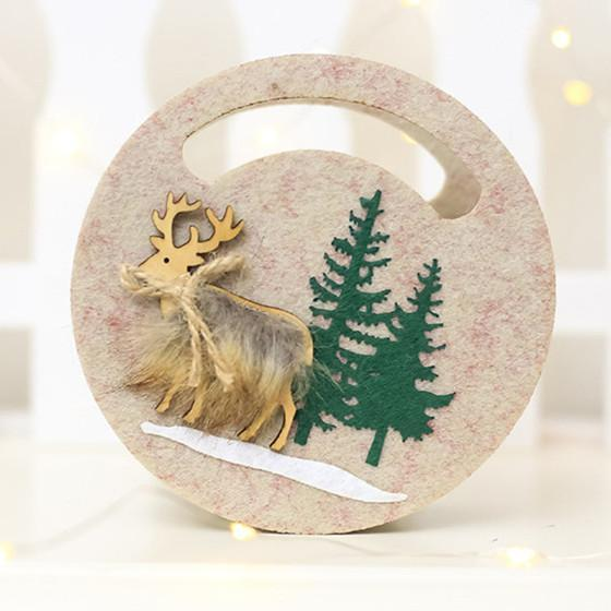 1 PIC Christmas Decoration Non-Woven Fabric Wooden Elk Christmas Lovely Candy Bag Xmas Gift