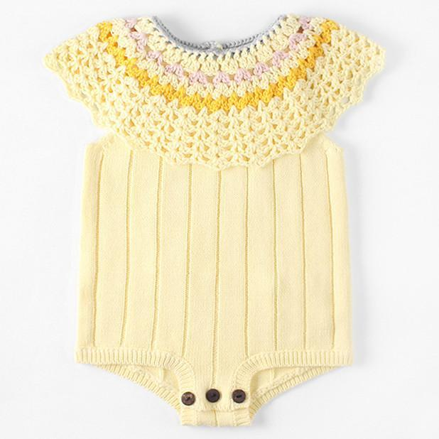 Baby Knit Sleeveless Hollow Yellow Pure Cotton Jumpsuit 3-18m