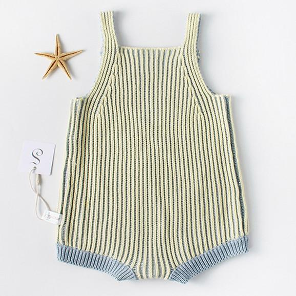 Baby Knit Sleeveless Stripe Yellow And Blue Colors Cotton Overalls Jumpsuit 3-18m