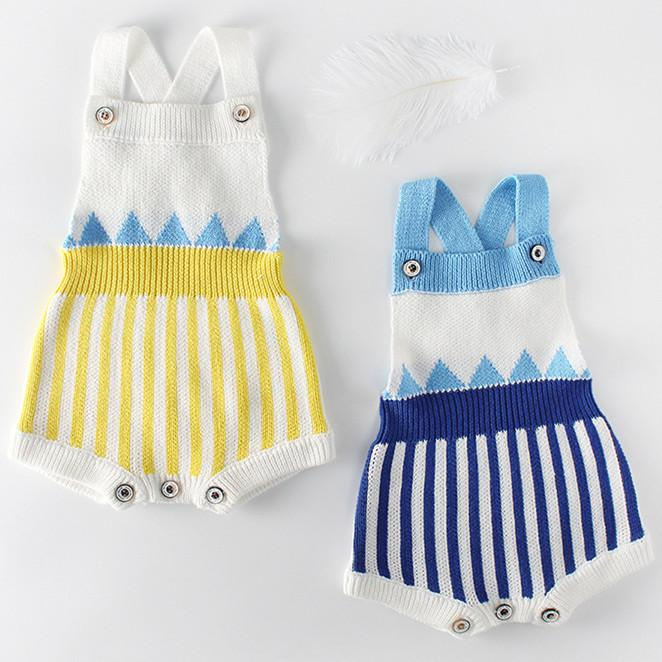Baby Knit Sleeveless Stripe Yellow And Blue Colors Lovely Cotton Jumpsuit Overalls 3-18m