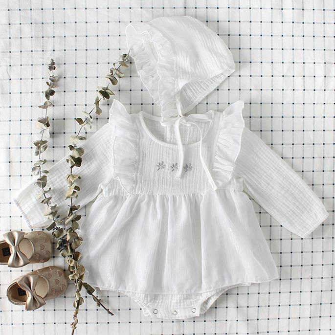 Baby Long Sleeve Solid Color Lovely Cotton Jumpsuit With Hat 3-18m