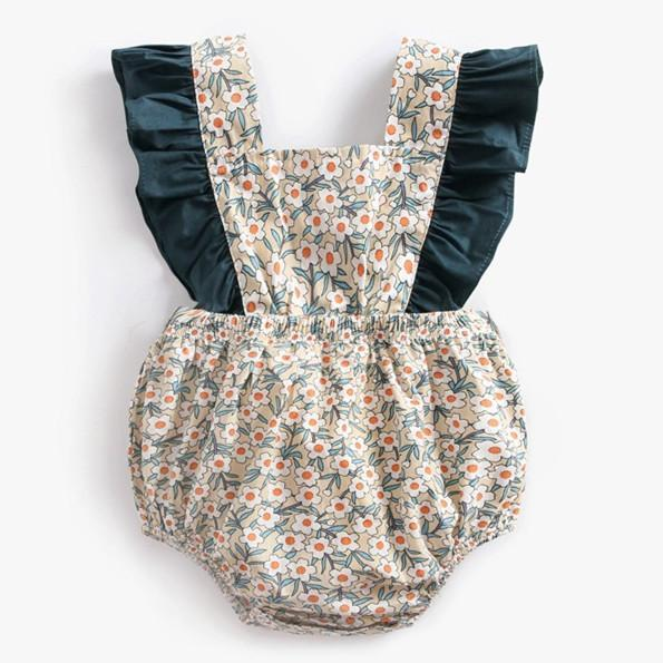 Baby Short Sleeve Priting Flowers Lovely Jumpsuit 3-24m
