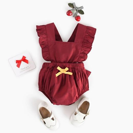 Baby Short Sleeve Red Solid Color with Yellow Bowknot Lovely Jumpsuit 3-24m