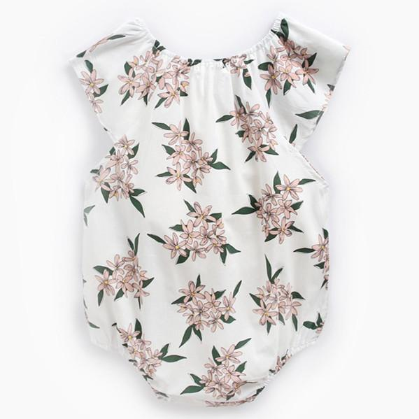 Baby Short Sleeve Round Neck Priting Pink Flowers Cotton Lovely Jumpsuit 3-24m