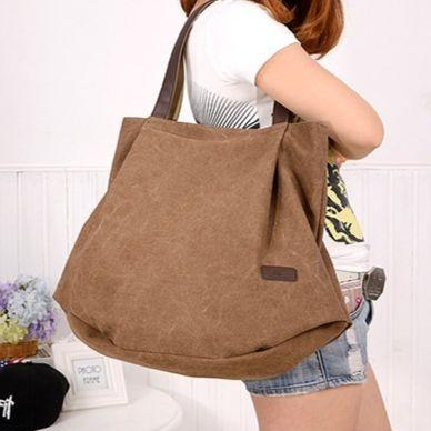 Women Canvas Tote Bag Casual Crossbody Shoulder Bag