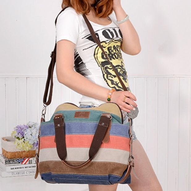 Women Canvas Tote Bag Casual Cross Body Shoulder Bag Striped