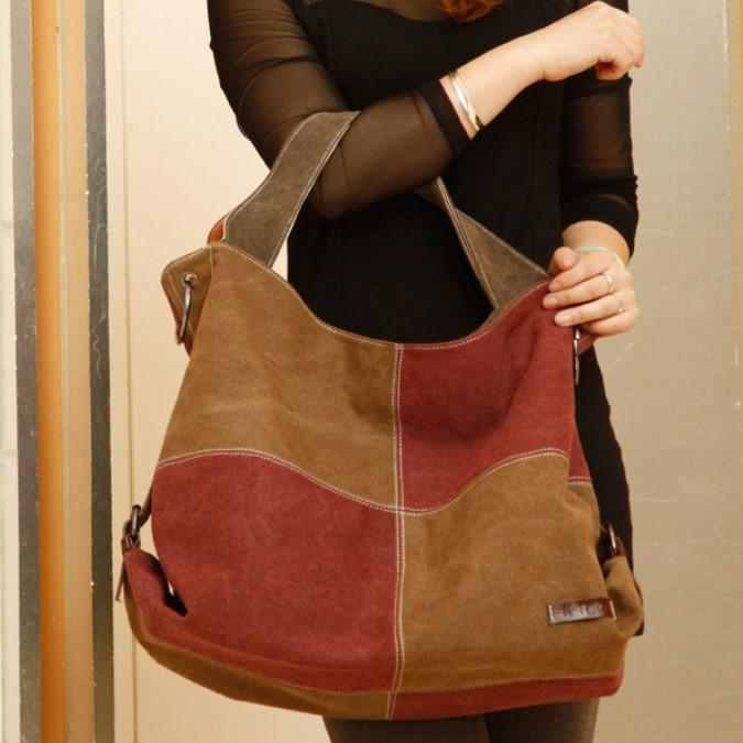 Women Canvas Tote Bag Casual Cross Body Shoulder Bag