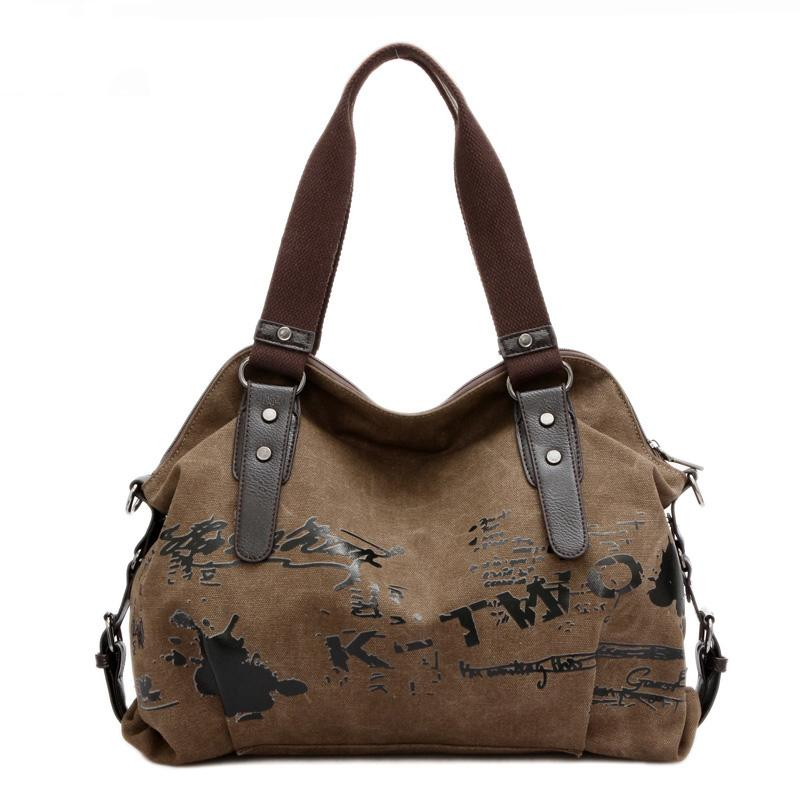 Vintage For Graffiti Women's Bag Canvas Handbag Female Famous Designer Shoulder Ladies Tote Large Capacity