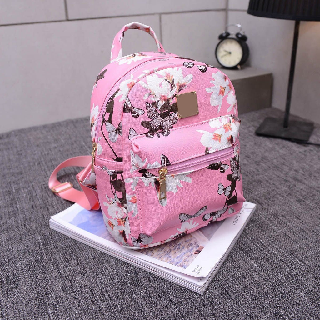 Ladies Floral Backpack Travel Faux Leather Handbag Rucksack Shoulder School Bag