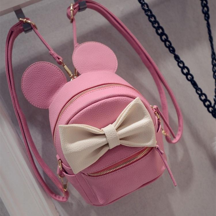 Lovely Bowknot Mickey Mini Shoulder Bag Backpack Female Minimalist Mini Packet