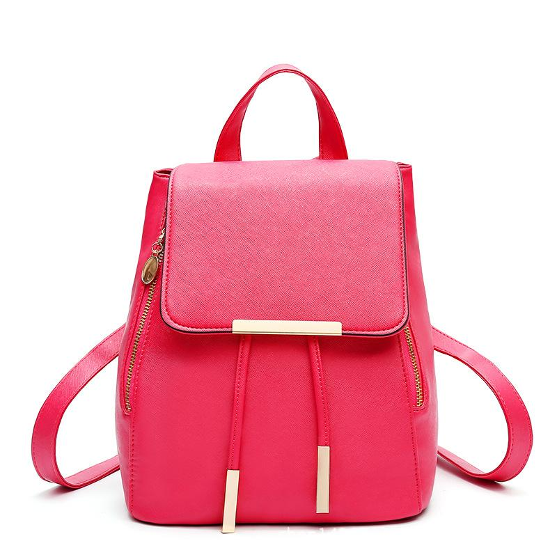 PU Leather Backpack School Bag Student Women Travel Bag Satchel