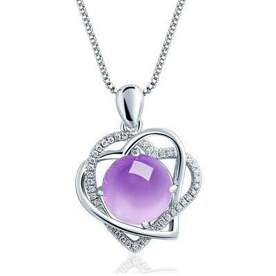 Multicolored lucky gem with necklace purple