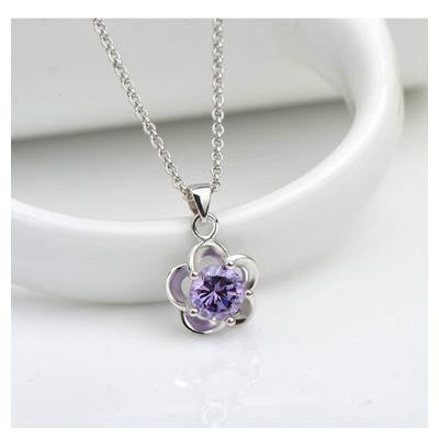 Shiny zircon simple clavicle chain plum with necklace