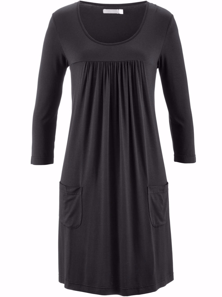 Ladies Plus Size Chic Half Long Sleeve Summer Short Loose Dress With Pockets