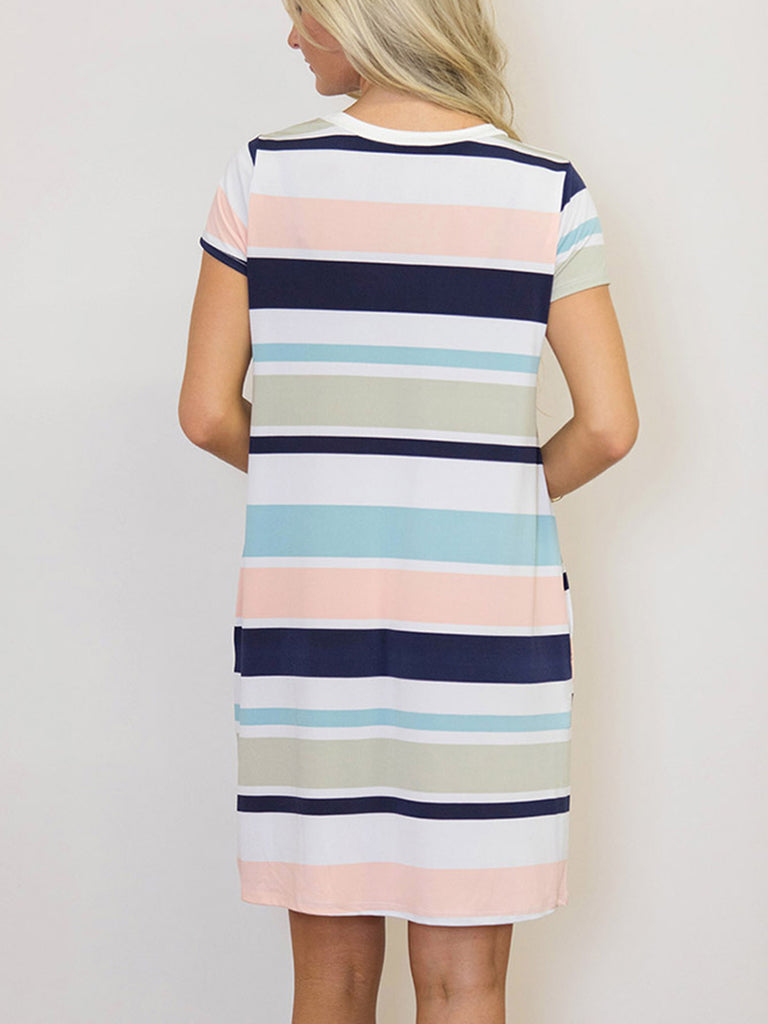 Women's Scoop Neck Long Sleeve Stripe Dress