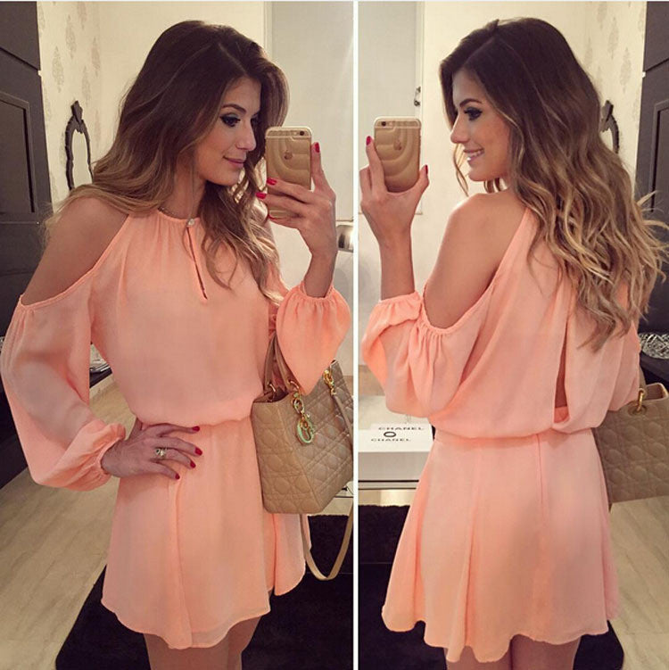 Fashion Women chiffon Dress sexy o-Neck Long Sleeves Asymmetrical Casual Mini Dress summer Strapless backless dress