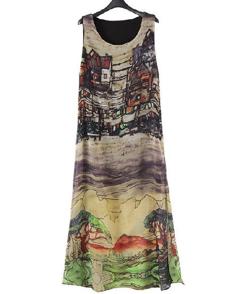 Retro House Pattern Sleeveless Beach Long Dress with Belt