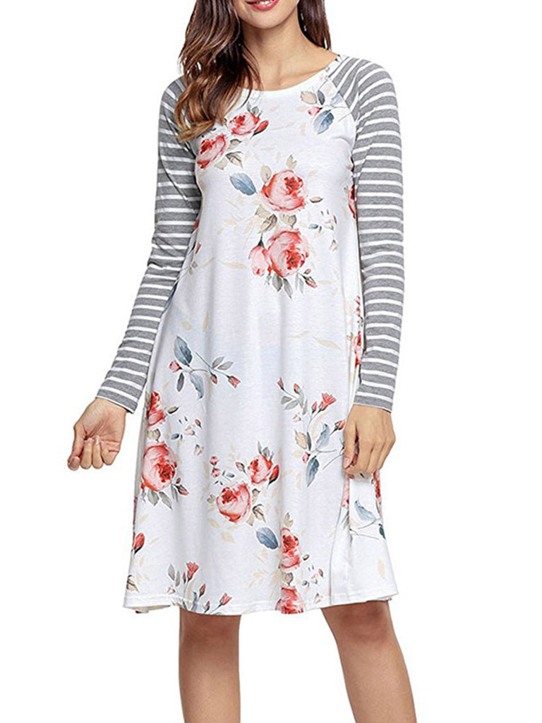 Women Plus Size Floral Printed Dress Stripe Long Sleeve O-Neck Dresses