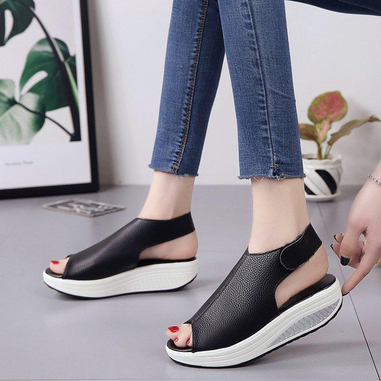 Women's Summer Sexy Leather Peep Toe Wedge Sandals Platform Shake Shoes