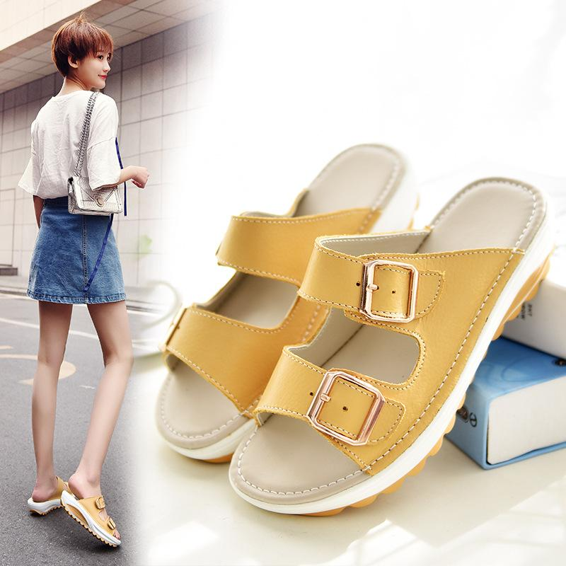 Women's Summer Sexy Leather Peep Toe Wedge Sandals Platform Shake Slipper