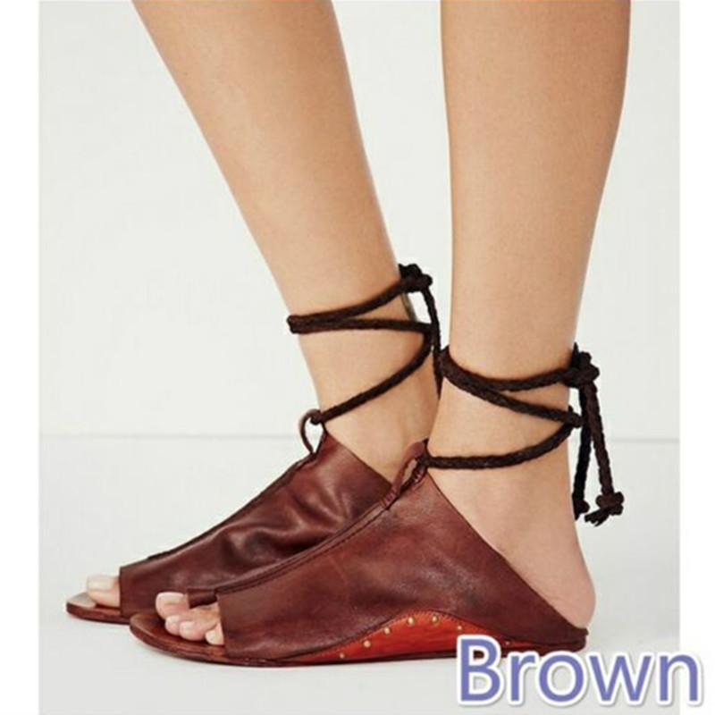 Women Lace Up PU Leather Flats Shoes